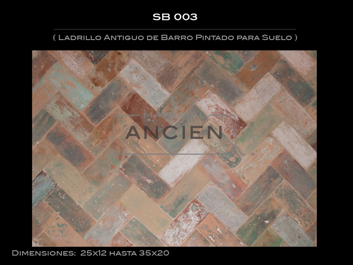 Ladrillo Antiguo de Barro Pintado para Suelo SB 003
