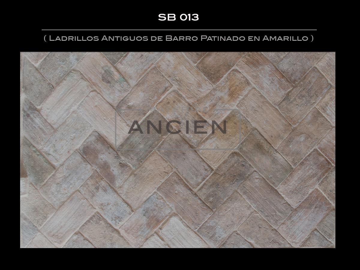 Ladrillos Antiguos de Barro Patinado en Amarillo  SB 013