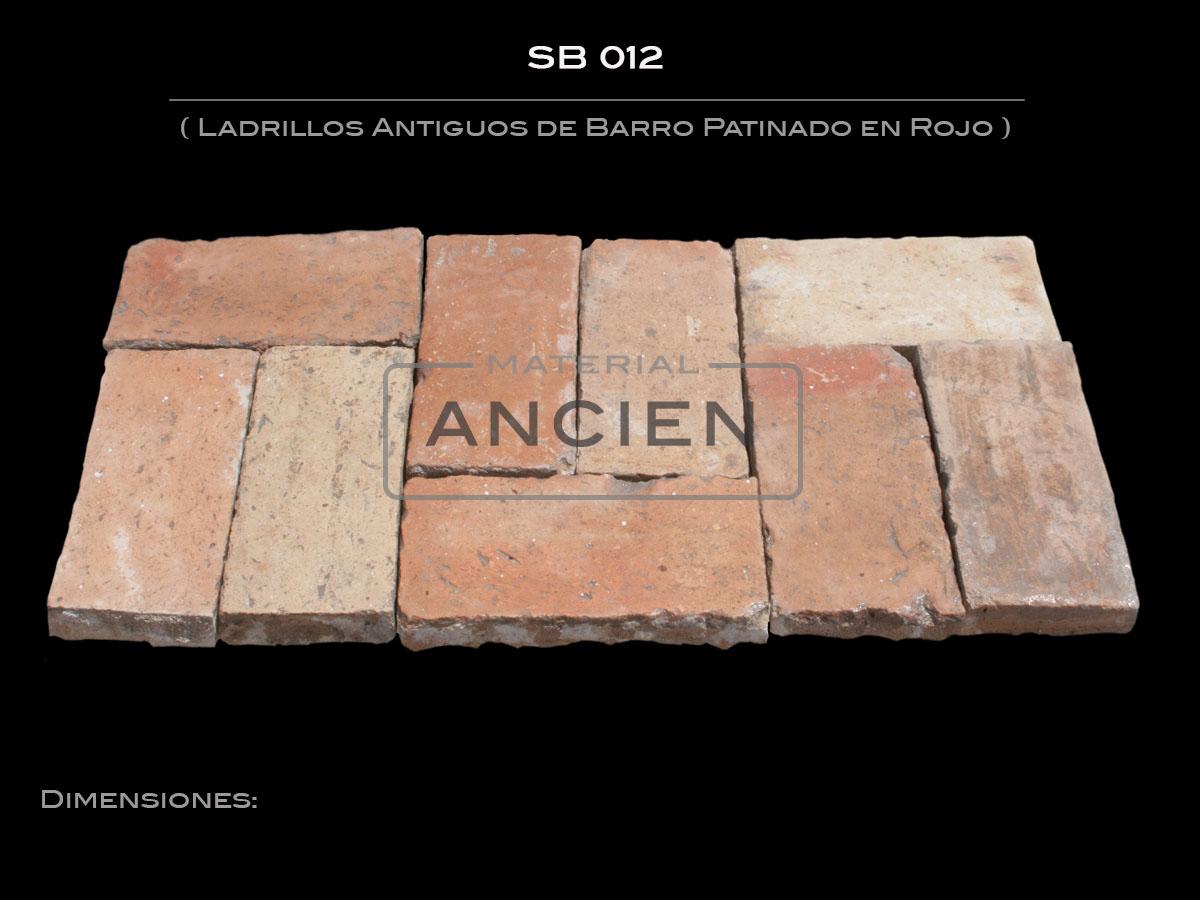 Ladrillos Antiguos de Barro Patinado en Rojo SB 012
