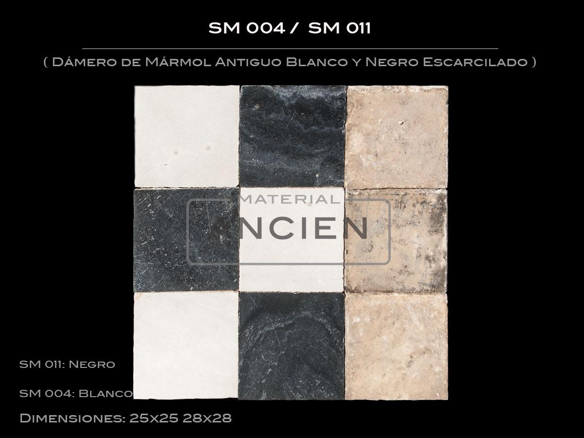 Dámero de Mármol Antiguo Blanco y Negro Escarcilado SM004 - SM011
