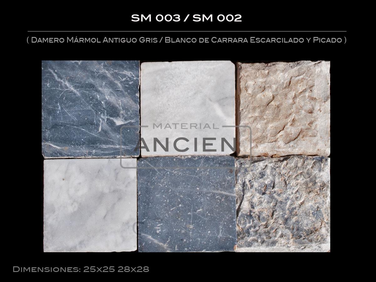 Damero Mármol Antiguo Gris-Blanco de Carrara Escarcilado y Picado SM 003-SM 002