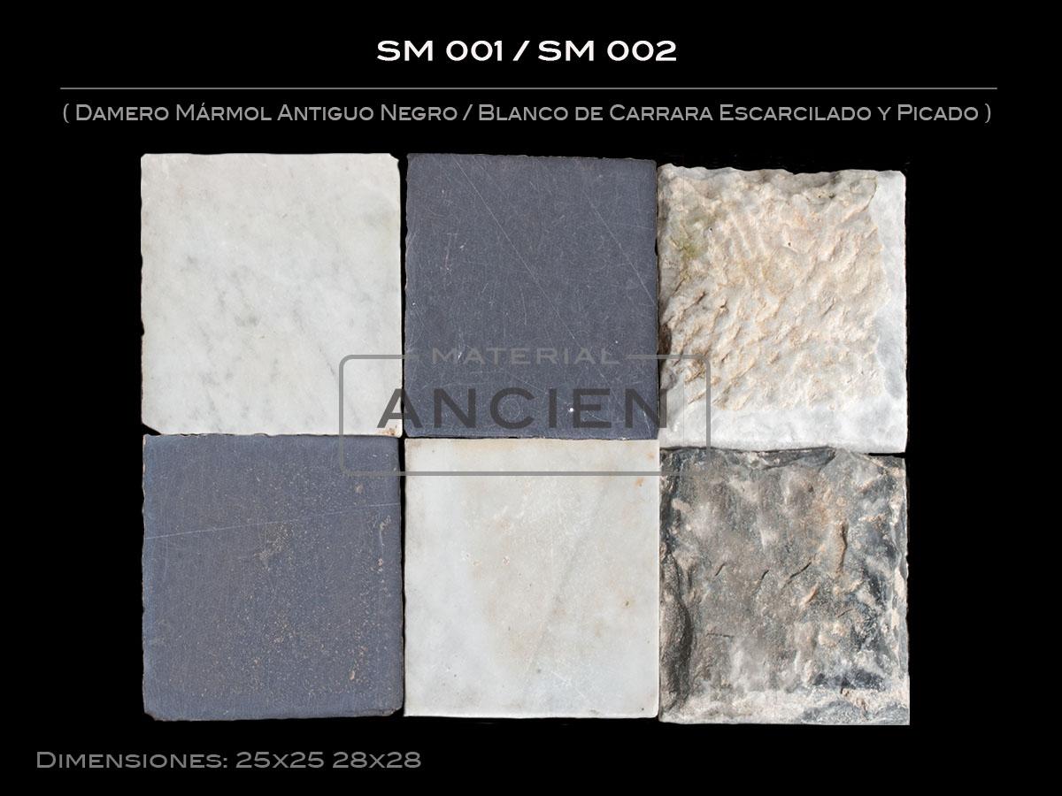 Damero Mármol Antiguo Negro-Blanco de Carrara Escarcilado y Picado SM 001-SM 002
