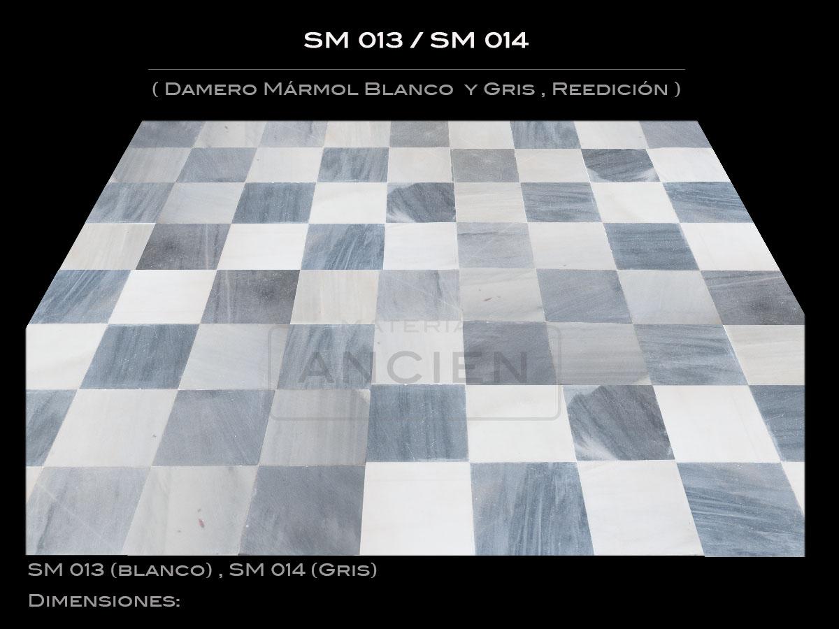 Damero Mármol Blanco  y Gris , Reedición SM 013- SM014