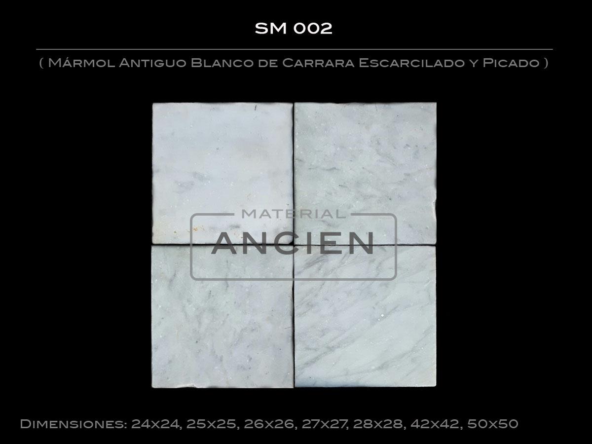 Mármol Antiguo Blanco de Carrara Escarcilado y Picado SM 002 2