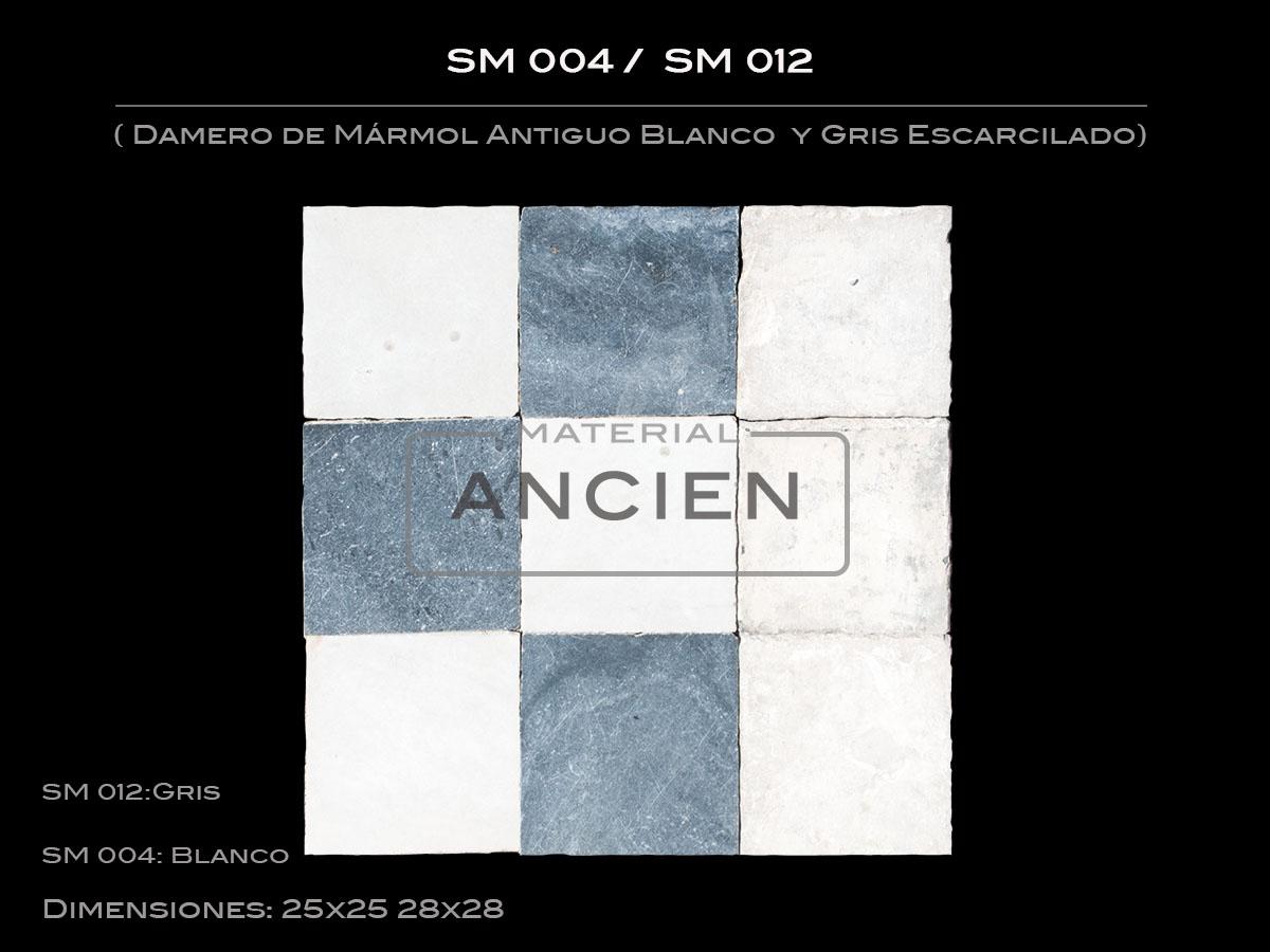 Mármol Antiguo Blanco y gris Escarcilado SM 004-SM 012