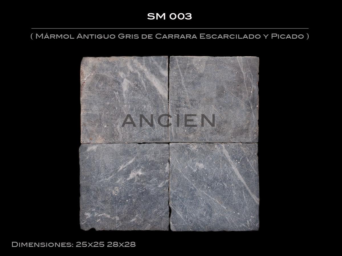Mármol Antiguo Gris de Carrara Escarcilado y Picado SM 003