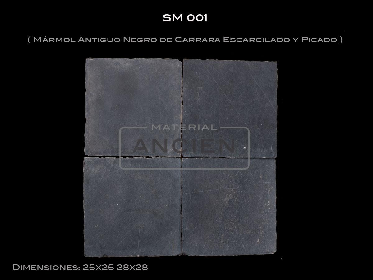 Mármol Antiguo Negro de Carrara Escarcilado y Picado SM 001-3
