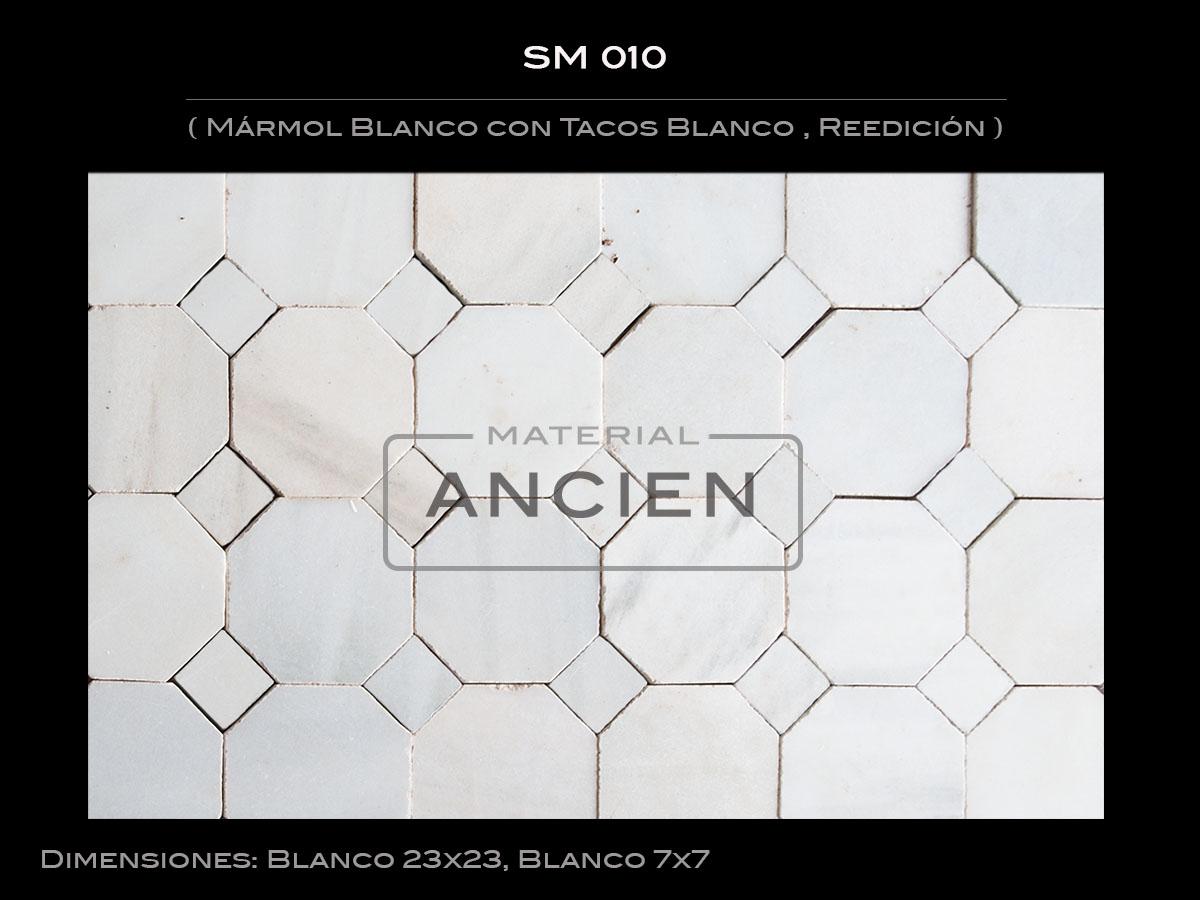 Mármol Blanco con Tacos Blanco , Reedición  SM 010