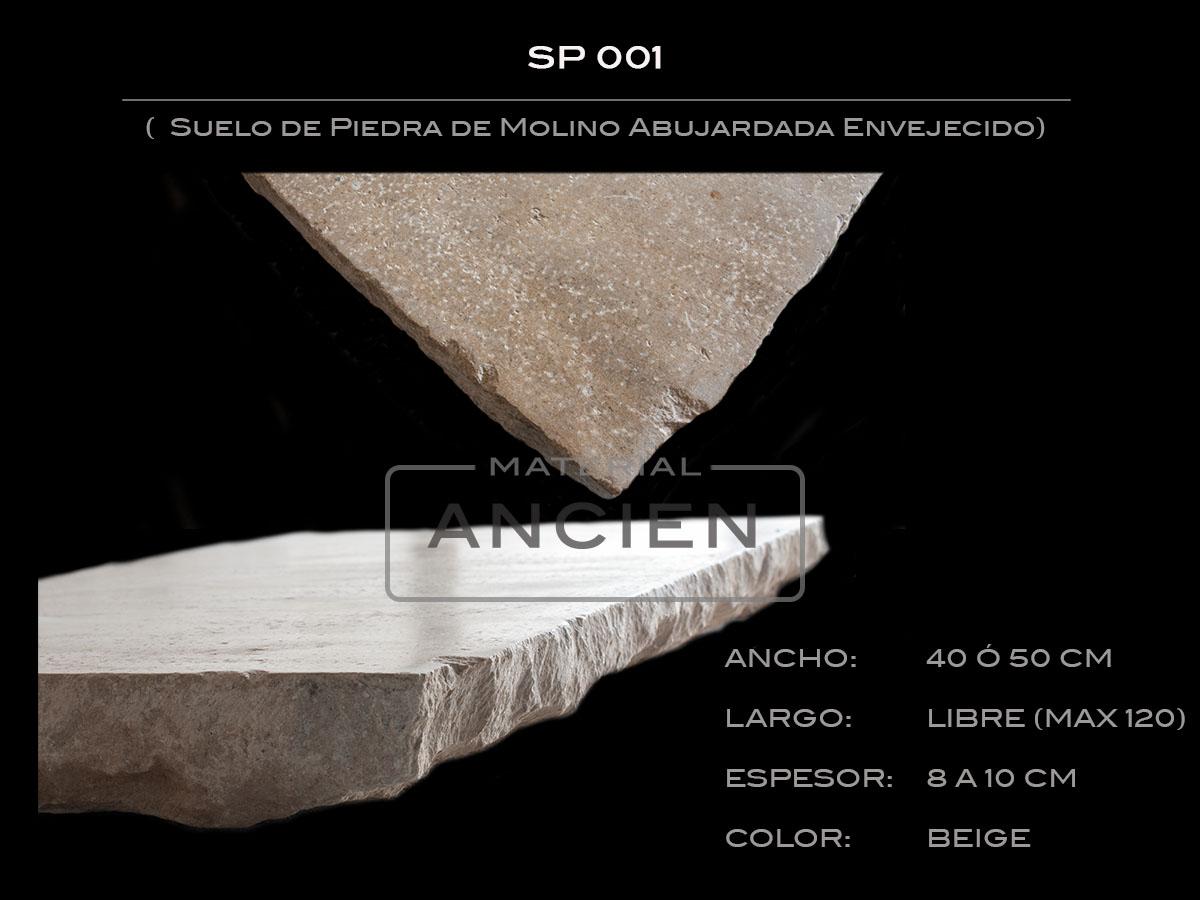 Suelo de Piedra de Molino Abujardada Envejecido SP 001