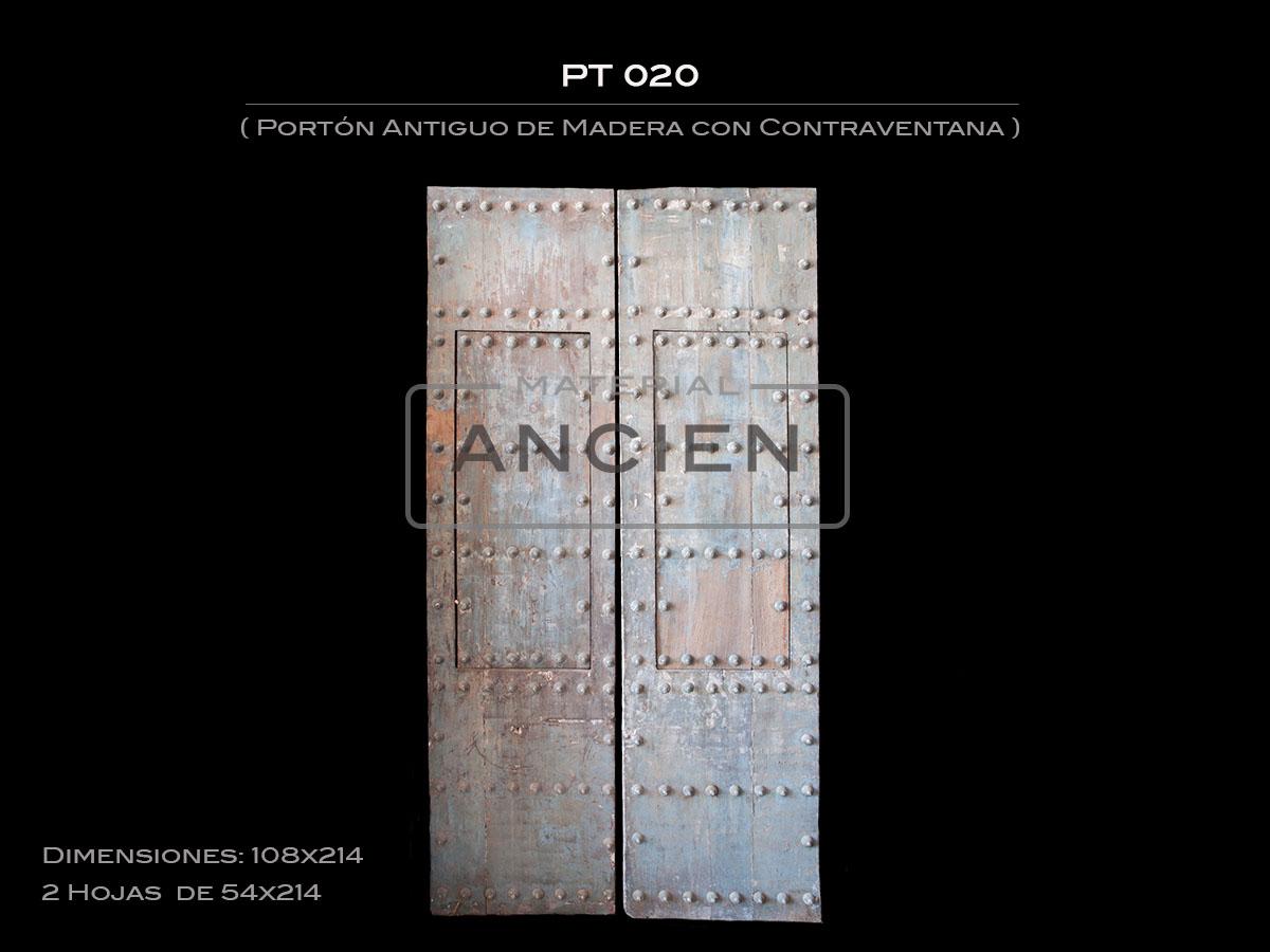 Portón Antiguo de Madera con Contraventana PT 020